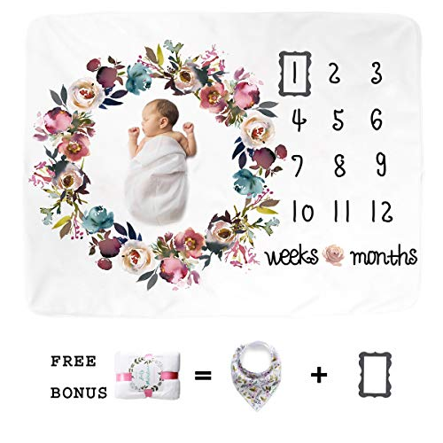 Premium Fleece Baby Monthly Milestone Blanket for Boy Girl | Large Personalized Photography Background Blankets | Thick Flannel for Mom Newborn Bib + Frame(Wreath