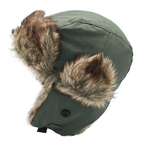 Dboa Winter Faux Fur Fishing Trapper Hat (Green, Adult)