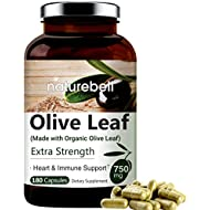 NatureBell Olive Leaf Extract (Made with Organic Olive Leaf) 750mg, 180 Capsules, Active Polyphenols and Oleuropein, Strongly Supports Immune and Cardiovascular Health, Non-GMO, Made In USA