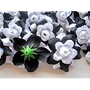 "(100) Silk Black White Roses Flower Head - 1.75"" - Artificial Flowers Heads Fabric Floral Supplies Wholesale Lot for Wedding Flowers Accessories Make Bridal Hair Clips Headbands Dress 3"