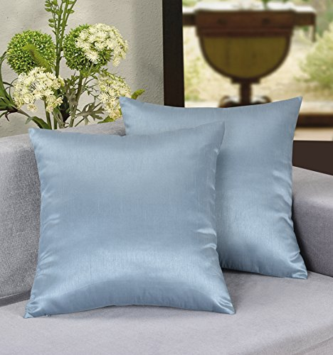 Cover Slate (Aiking Home 18x18 Inches Faux Silk Square Throw Pillow Cover, Zipper Closure, Slate (Set of 2))