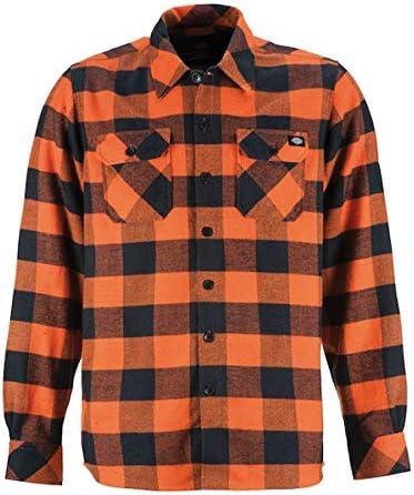 Camisa de Hombre Disckies de Manga Larga Naranja Naranja 2XL Naranja/Negro: Amazon.es: Coche y moto