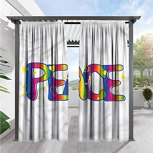 Marilds Groovy Outdoor Patio Curtains Funky Hippie Peace Idealism Darkening Thermal Insulated Blackout 96