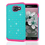 Samsung Galaxy A5 2016 Case, JoJoGoldStar Lattice Rhinestone Hybrid, Slim Fit Heavy Duty Polycarbonate and Silicone TPU Hard Cover with Stylus and Screen Protector - Teal, Pink