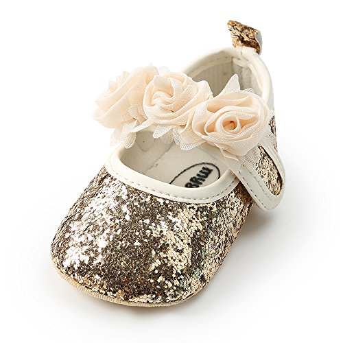 (Antheron Baby Girls Mary Jane Flats Soft Sole Infant Moccasins Floral Sparkly Toddler Princess Dress Shoes (M:4.73 inch(6-12 Months), Gold))