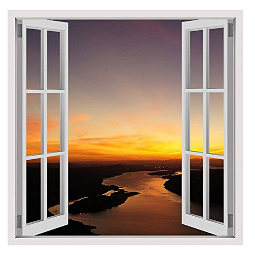 Alonline Art - Sunset Scenery Landscape by Fake 3D Window | framed stretched canvas on a ready to hang frame - 100% cotton - gallery wrapped | 16