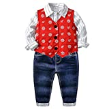 3Pcs Tollder Baby Boys Clothing Sets Vest Stripe Shirt Jeans Clothes Formal Suit