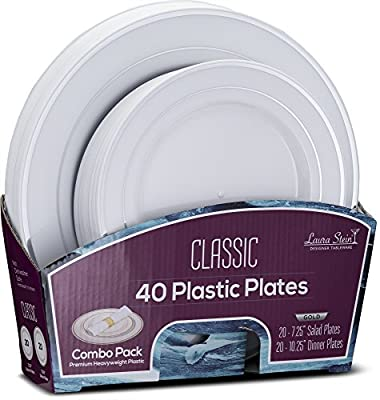 Laura Stein Designer Tableware Classic Series Hot Stamp Combo Plasti Disposable Plates Sets