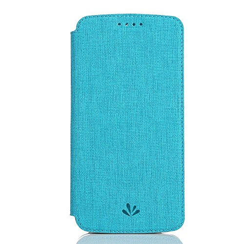 Moto G6 Case,Premium Leather PU Flip Wallet Case with Stand Kickstand Card Holder Magnetic Closure TPU bumper full cover slim Leather Case for Motorola G6 (Blue)
