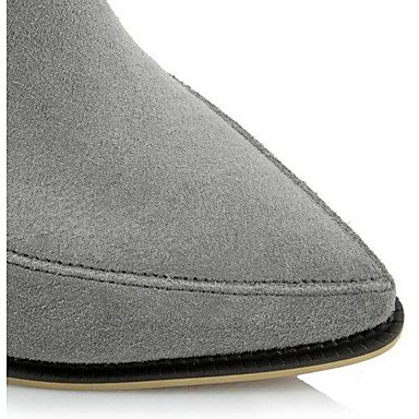 La mujer Confort Botas de gamuza gris negro plano informal de Primavera Gray