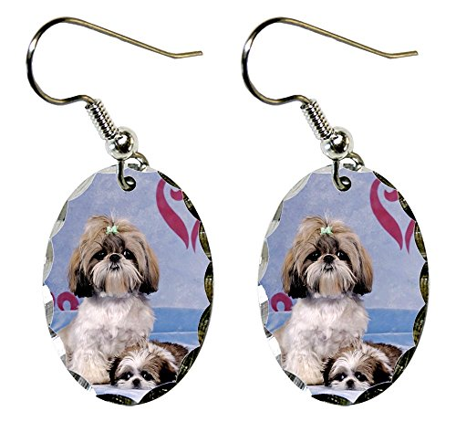 Canine Designs Shih Tzu Scalloped Edge Oval Earrings Shih Tzu Earring
