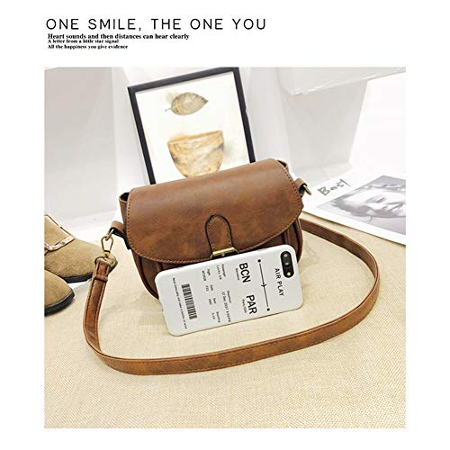 Dark Bag Leather Saddle Long Adjustable Strap Shoulder Purse Yoome PU Brown for with Small Women Cover Crossbody Vintage Satchel Hasp 1OgpFqUw