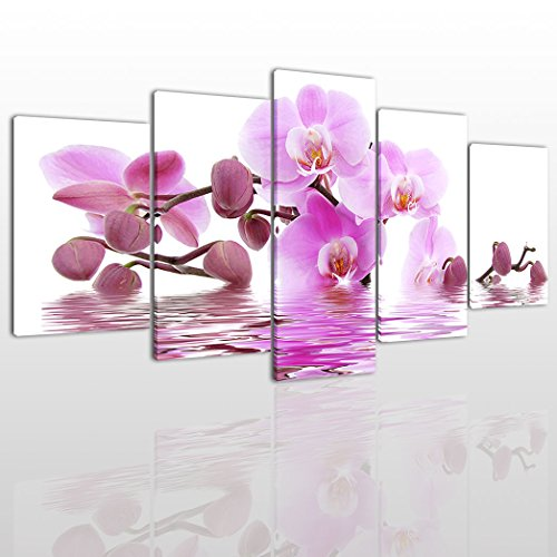 Large Pink Butterfly Flower Canvas Wall Art Paintings Modern Picture For Living Room Decor - 5 Pieces Flowers Water Stretched On Wooden Frame Image Pictures Artwork Decoration Ready To Hang -