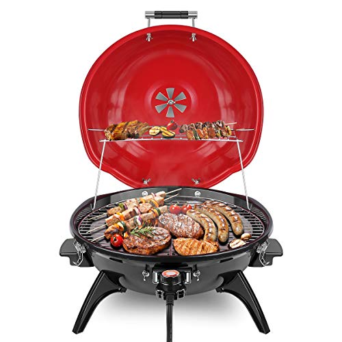 Techwood Electric BBQ Grill 15-Serving Electric Grill Outdoor/Indoor, Nonstick Portable Grill 1600W, Red