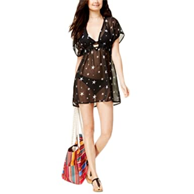 d624308e41 Miken Printed Sheer Dolman-Sleeve Cover-Up Women s Swimsuit Black ...