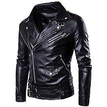 SANKE Men's PU Faux Leather Motorcycle Rider Bomber Jacket Slim Fit …