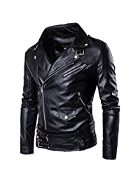 SANKE Men's PU Faux Leather Motorcycle Rider Bomber Jacket Slim Fit …