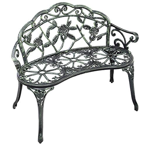 (Giantex Outdoor Garden Bench Iron Patio Benches for Outdoors, Porch Bench Chair with Curved Legs Cast Aluminum Rose Antique Style, Green)