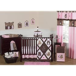 Pink and Chocolate Brown Teddy Bear Baby Girls Bedding 11pc Crib Set without bumper