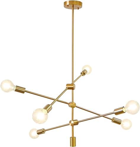 LynPon Modern Gold Sputnik Chandelier 6 Lights Brass Plating Ceiling Light Fixture Pendant Dining Kitchen Island Bedroom Lighting