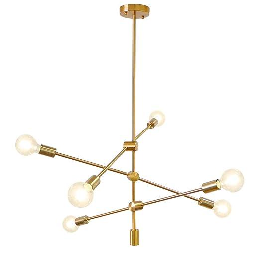 Amazon.com: LynPon - Lámpara de techo con 6 luces chapadas ...