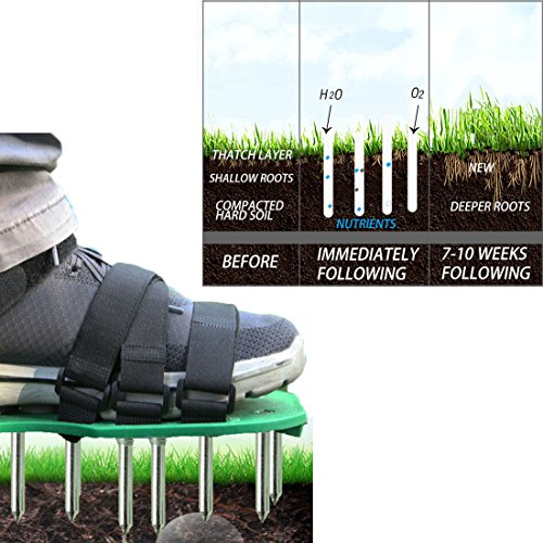 MAXTID Upgraded Lawn Aerator Shoes - with 10 Adjustable Cinch Straps, Heavy Duty Lawn Spiked Soil Sandals for Aerating Your Garden or Yard (1 Pair) Universal Size by MAXTID (Image #1)