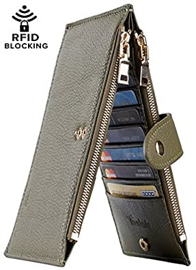 Travelambo Womens Walllet RFID Blocking Bifold Multi Card Case Wallet with Zipper Pocket (Chelsea army green)