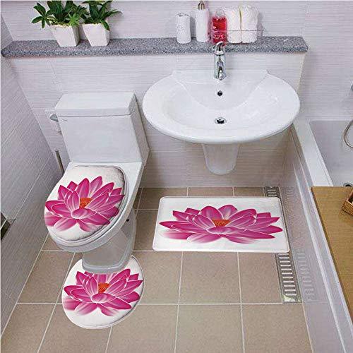iPrint Bath Rug Set,Lotus,Vibrant Lotus Flower Pattern Spa Zen Yoga Asian Balance Energy Lifestyle Artsy Image,Magenta Red,Non-Slip Soft Absorbent Bath Rug