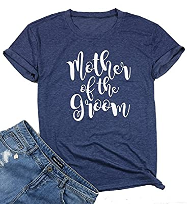 Mother of The Groom Shirt for Women's Short Sleeve Casual Tops Funny Cute Letters Print T-Shirt