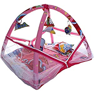 Tutooze Baby Kick and Play Gym Mattress with Mosquito Net and Bedding Set (Pink, 0-10 Months).