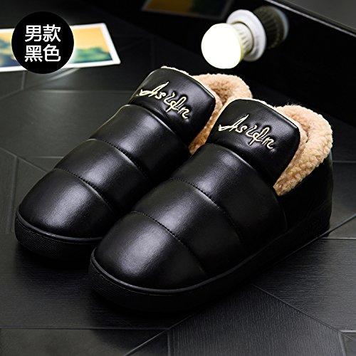 LaxBa Femmes Hommes chauds d'hiver Chaussons peluche antiglisse intérieur Cotton-Padded Chaussures Slipper38-39 noir correspond à 37-38