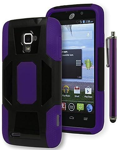 Rapido LTE Case - Bastex Heavy Duty Hybrid Case - Purple Silicone Cover with Hard Black Shell Case for ZTE Rapido LTE Z932C [Includes a (Zte Rapido Phone Cases)