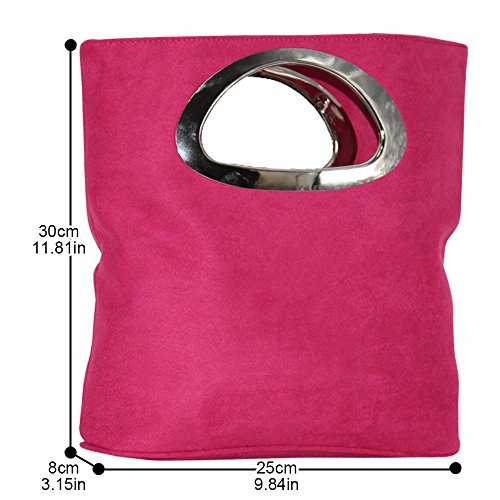 Cckuu Ladies Leather Clutch Evening Bag Suede Pink Top Foldable Purse Grey Handle Hot Italian rtq6S1Ewxr
