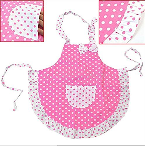 EBS Child's Chef Apron Kid's Apron Polka Dot Cotton Kitchen Cooking and Baking Wear Kit Adjustable (Child (50x54cm), Pink) ()