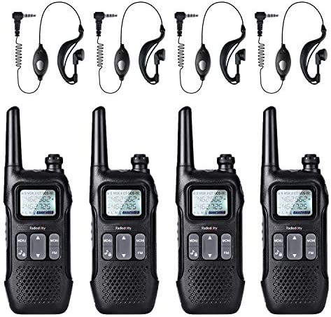 Radioddity FS-T1 FRS NOAA Two-Way Radio, Kids Walkie Talkies, 22 CH with FM, Earpiece, Flashlight, USB Charging, 4 Pack