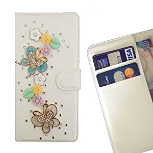 - Fly Way Butterfly Flowers/ Slot Card Flip Case Cover Skin Bling Rhinestone Crystal Leather - Cao - For Samsung GALAXY S6 Active/G890A
