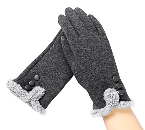 Urban Coco Womens Winter Touchscreen Gloves Plush Lining Outdoor Warm Gloves  Grey