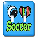 Dooni Designs Eye Heart I Love Designs - Bright Eye Heart I Love Soccer - Light Switch Covers - double toggle switch (lsp_106536_2)