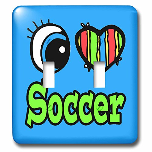 Dooni Designs Eye Heart I Love Designs - Bright Eye Heart I Love Soccer - Light Switch Covers - double toggle switch (lsp_106536_2) by 3dRose