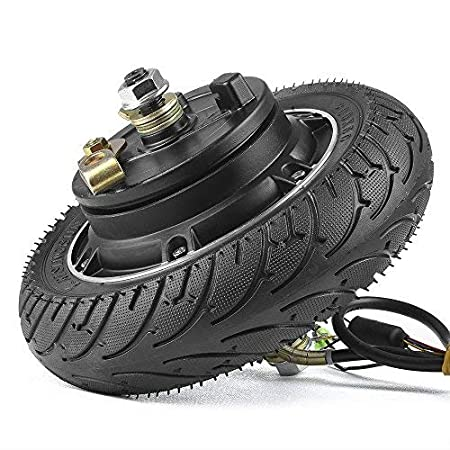 kun ray 8 inch 24V 36V 48V 350W Electric Scooter Brushless Hub Motor with 200x50 Airless Tire Drum Brake for E-Scooter E-Bike Skateboard DIY Part Toothless Wheel Motor
