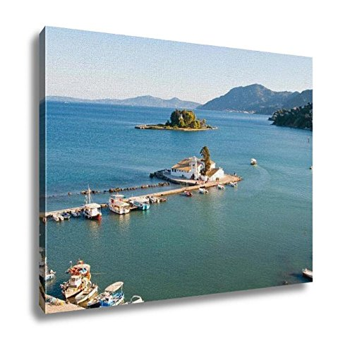 Ashley Canvas, Pontikonisi And Vlacheraina Monastery Seen From The Top Of Kanoni Hill Corfu, Home Decoration Office, Ready to Hang, 20x25, AG6007405 by Ashley Canvas