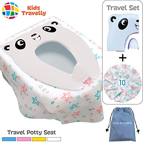 Travel Potty Seat For Toddler & 10 Toilet Seat Covers Disposable - Travel Set of Training Potty Seat and Toilet Seat Covers - Portable, Hygienic. Makes Potty Training Easy. By KidsTravelly
