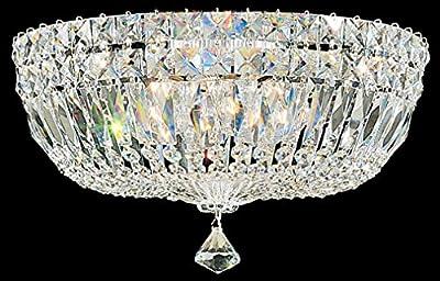 Schonbek 5893-40M Swarovski Lighting Petit Crystal Deluxe Flush Mount Lighting Fixture, Silver