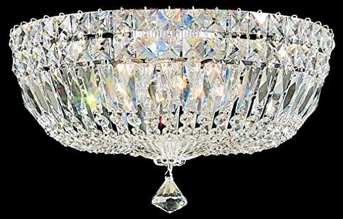 (Schonbek 5893-40M Swarovski Lighting Petit Crystal Deluxe Flush Mount Lighting Fixture, Silver)