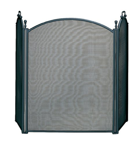 Uniflame, S-3652, 3 Fold Large Diameter Black Screen with Woven Mesh (Large Diameter Fireplace Screen)