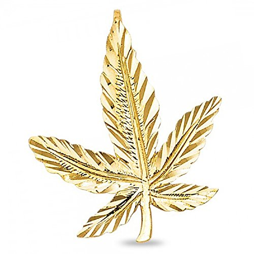 420 Cannabis Pot Charm Solid 14k Yellow Gold Marijuana Leaf Pendant Diamond Cut 25 x 22 mm