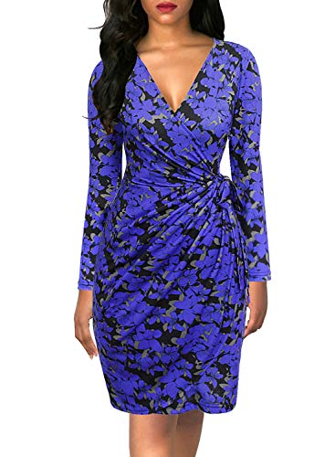 Knee Length Sheath - Berydress Women's Classic V-Neck Long Sleeve Casual Party Work Belted Knee-Length Sheath Faux Black Wrap Dress (XL, 6090-Blue Floral)