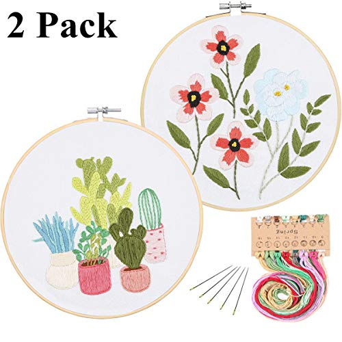 2 Pack Full Range of Stamped Embroidery Starter Kit with Pattern and Instructions, Including Embroidery Cloth with Pattern,Plastic Embroidery Kits (Cactus and Flowers)