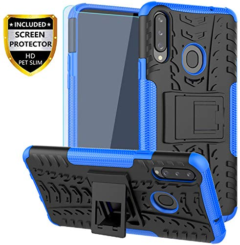 SKTGSLAMY Galaxy A20S Case, with HD Screen Protector, (Not Fit A20) [Shockproof] Tough Rugged Dual Layer Protective Case Hybrid Kickstand Cover for Samsung Galaxy A20S (Blue)