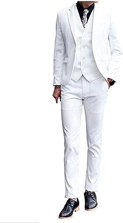 Mens White Peak Lapel Suit 3 PC Wedding Suit Groom Tuxedo Suit One Botton Men Suit